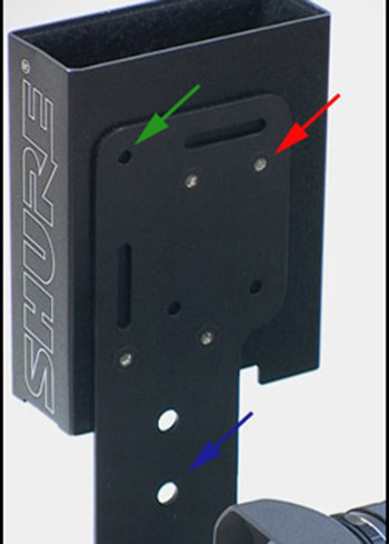 Mounting Holes from Back with Shure Wireless Receiver Box